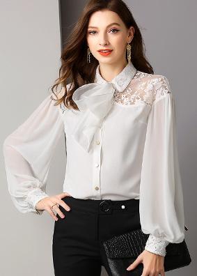 5349复古高端女装原创衬衫女上衣翻领长袖绑带大蝴蝶结灯笼袖衬衣