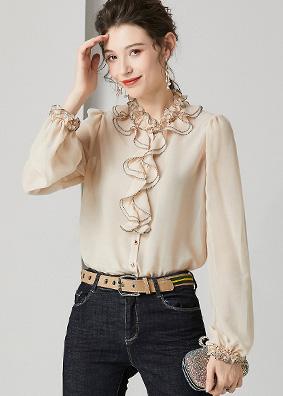 924150 欧货气质荷叶边木耳领真丝衬衫 2020早春女装钉珠百搭上衣