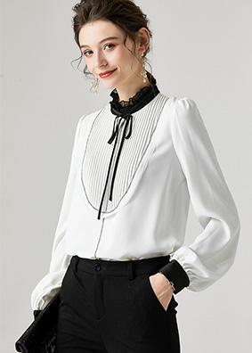 6914082 欧美名媛时尚宫廷风真丝衬衫 系带木耳领灯笼袖百搭上衣