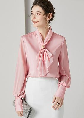 924154 欧货轻奢名媛高端真丝衬衫 珠扣蝴蝶结灯笼袖纯色洋气上衣