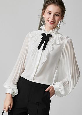 924011 宫廷风木耳边立领连体真丝衬衫 荷叶边压褶灯笼长袖上衣女