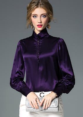 1586 欧美气质高领缎面长袖衬衫女 2020早春轻奢女装纯色宽松上衣