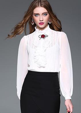 3571高端女装蕾丝贴花荷叶边衬衫女上衣原创精品夏装纯色长袖衬衣