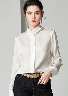 914078-2020早春女装重磅真丝衬衫 优雅气质纯色长袖立领开衫上衣