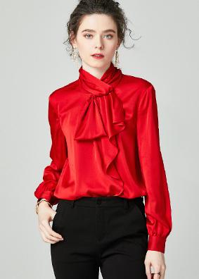 924159 早春新款时尚气质OL真丝衬衫 蝴蝶结荷叶边长袖宽松上衣女