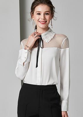 924021 欧美爆款时尚OL通勤真丝衬衫 翻领蝴蝶结系带露肩长袖衬衣