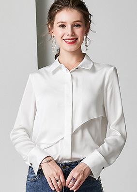 924052 欧货通勤职业装纯色长袖真丝衬衫 开衫翻领时尚百搭上衣女