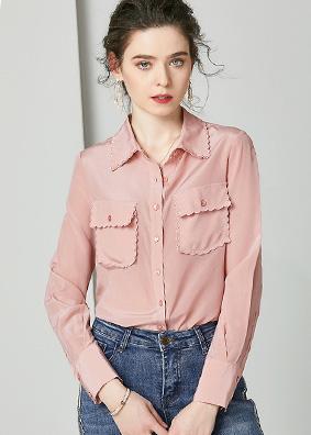 924158 高端欧货精品早春装真丝上衣女 V领双口袋工装风长袖衬衫