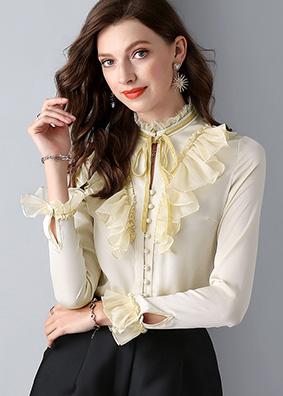 4748 欧美复古女装长袖连体衬衫 木耳边衬衣系带蝴蝶结气质上衣女