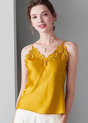 916022欧美女装性感真丝吊带桑蚕丝背心V领刺绣边纯色