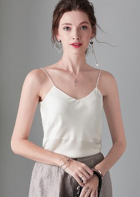 916025欧美精品女装时尚百搭真丝吊带简约背心外穿纯色打底衫女