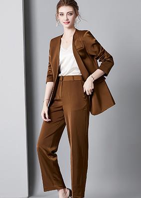920046欧货高质感名媛西装套装女长袖西服外套休闲长裤丝带三件套
