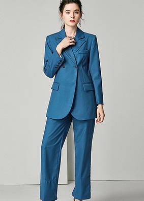 920066 欧货时尚品质款西装套装女 长袖西服外套直筒休闲裤两件套