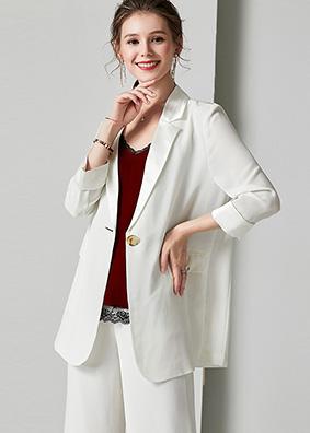 2019秋冬新款欧美气质女装职业西服套装 时尚小西装外套+休闲西裤