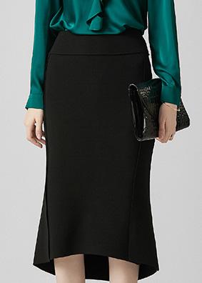 922031 欧货气质新款高腰修身OL通勤半身裙 不规则开叉鱼尾包臀裙