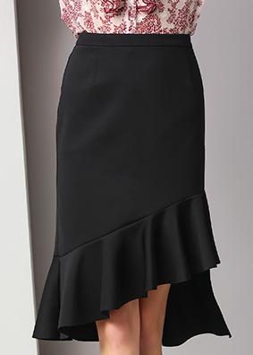 1819欧洲站时尚气质女装2020新款高腰显瘦半身裙荷叶边包臀鱼尾裙
