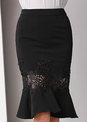 1820名媛女装时尚百搭高腰半身裙2020新款刺绣镂空修身包臀鱼尾裙