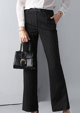 1885品质女装显瘦竖条纹休闲裤女气质OL通勤高腰微喇裤垂感长裤子