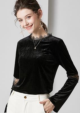 627065 内搭外穿拼接丝绒打底衫 设计感小众刺绣镂空纯色长袖上衣