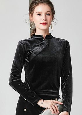 927048 时尚显瘦中国风新款盘扣旗袍上衣 立领长袖金丝绒打底衫女