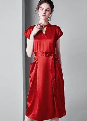 6913013欧美时尚女装2019夏装气质修身显瘦绑带中长款醋酸连衣裙