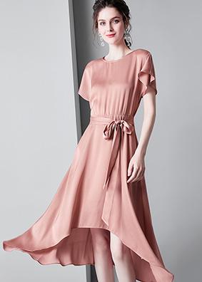 913030时尚女装2019夏季新款绑带纯色露背连衣裙高腰短袖中长裙子