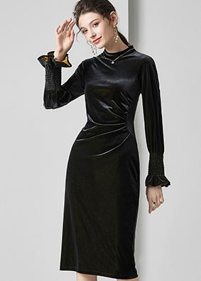 623004 法式复古名媛女装金丝绒连衣裙 气质修身褶皱包臀中长裙子