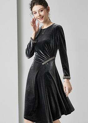 623005 欧美时尚优雅气质女装丝绒连衣裙 重工钉珠修身宴会礼服裙