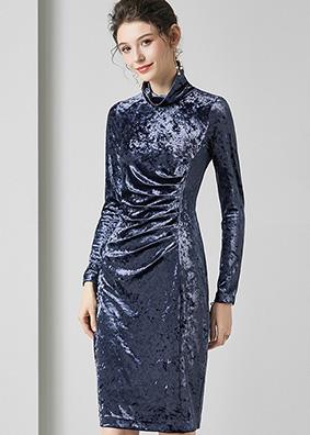 623006 精品欧货高领修身丝绒连衣裙 时尚名媛女装褶皱长袖礼服裙