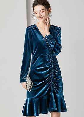 623012 时尚气质名媛金丝绒修身连衣裙 褶皱抽绳荷叶摆包臀鱼尾裙