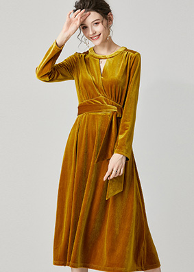 623013 欧货镂空圆领金丝绒连衣裙 名媛优雅女装收腰系带礼服长裙