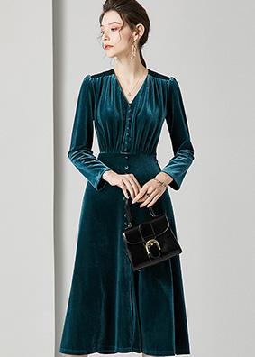 623019 法式复古时尚真丝丝绒连衣裙 V领纽扣修身显瘦A字裙中长款