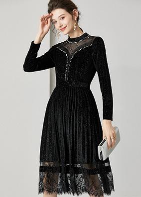 623015 气质名媛高端长袖丝绒连衣裙 立领钉珠镶钻透视修身打底裙