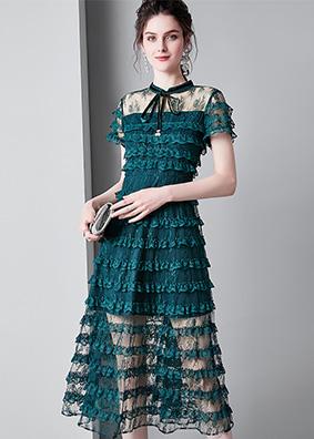 913037欧美女装2019夏季新款透视修身连衣裙系带立领蛋糕裙中长款