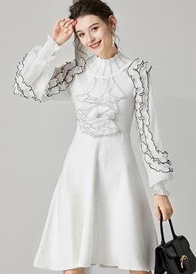 623014 欧洲站宫廷风荷叶边针织连衣裙 镂空立领透视灯笼袖A字裙