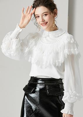 624104 法式浪漫荷叶边娃娃领修身毛衣 重工钉珠透视灯笼袖针织衫