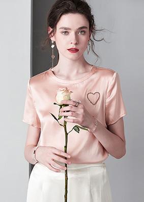 短袖真丝衬衫重磅桑蚕丝T恤亚马逊热卖跨境女装手工钉珠心形上衣