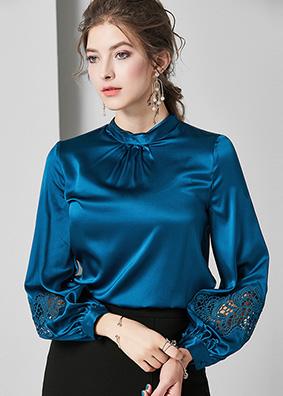 624057 欧美气质真丝衬衫女 设计感小众勾花镂空灯笼袖桑蚕丝上衣