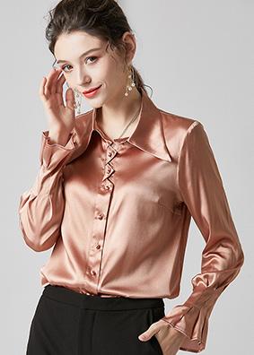 624075 简约轻奢质感职业装真丝衬衫女 ol通勤风时尚百搭宽松上衣