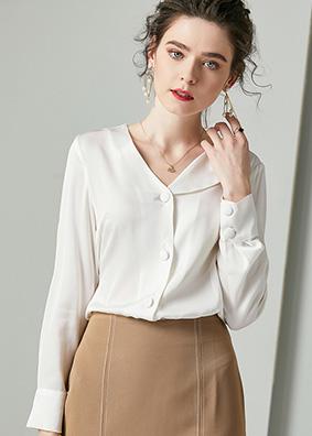 624110 精品欧货小众设计感真丝衬衫 V领长袖绑带收腰桑蚕丝上衣