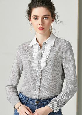 624116 时尚优雅职业装条纹真丝衬衫 翻领开衫长袖重磅桑蚕丝上衣
