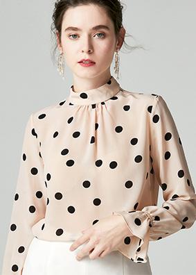 924055 2019女装新款16姆米双绉真丝衬衫 波点立领套头桑蚕丝上衣