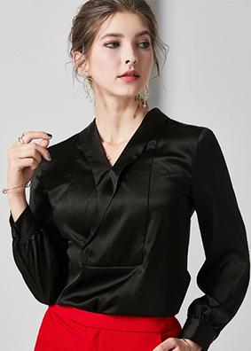 624059 交叉V领缎面重磅真丝上衣 欧美高端长袖宽松桑蚕丝衬衫女