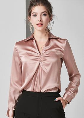 624060 2019女装时尚简约真丝衬衫 胸前褶皱设计感小众高端上衣女