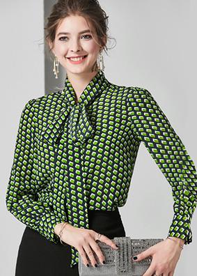 624066 欧美气质新款几何印花真丝衬衫 系带蝴蝶结桑长袖百搭衬衣