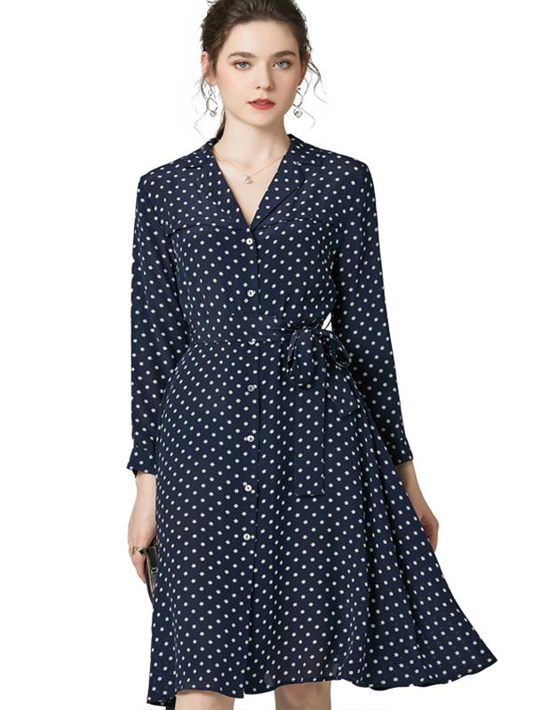 623027 欧货精品印花真丝连衣裙 西装领长袖系带收腰单排扣衬衫裙