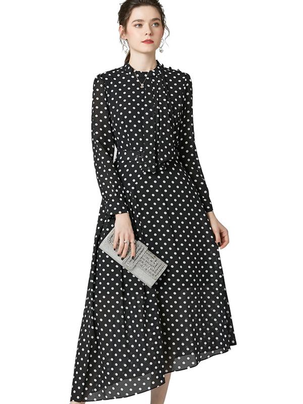 623028 2020春季新品黑色波点连衣裙 气质圆领收腰不规则裙中长款