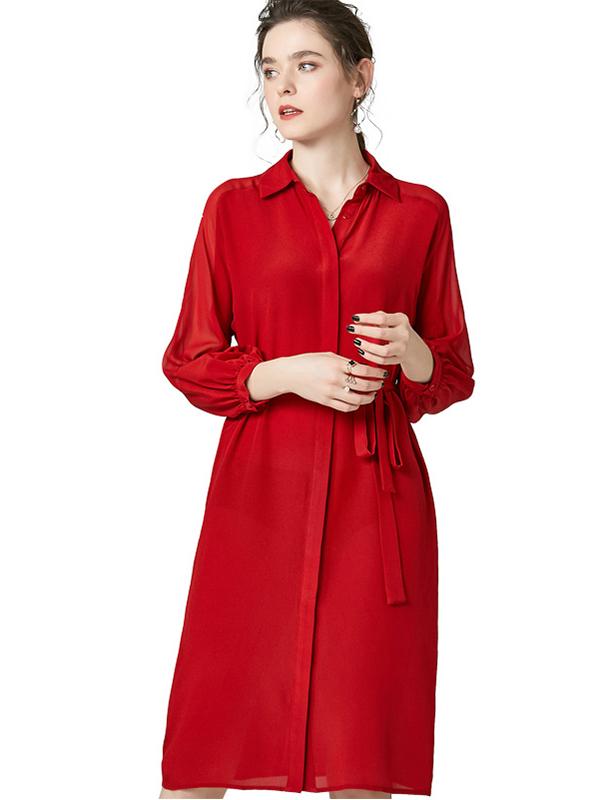 623031 翻领七分灯笼袖纯色真丝连衣裙 系带收腰通勤衬衫裙打底裙
