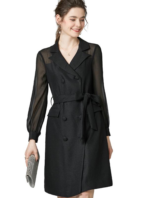 623032 欧货时尚精品系带纯色连衣裙 西装领高腰长袖双排扣风衣裙