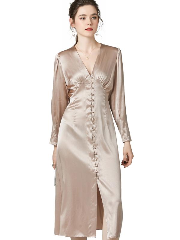 623033 名媛春装新款纯色真丝连衣裙 长袖高腰深V领单排扣礼服裙